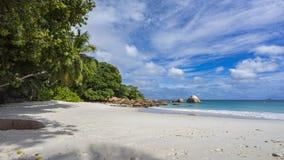 在anse拉齐奥的天堂海滩在塞舌尔群岛88 库存照片
