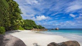 在anse拉齐奥的天堂海滩在塞舌尔群岛58 库存照片