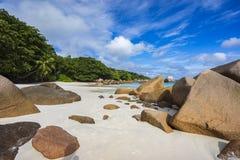 在anse拉齐奥的天堂海滩在塞舌尔群岛35 库存照片
