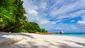 在anse拉齐奥的天堂海滩在塞舌尔群岛79 库存照片