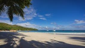 在anse拉齐奥的筏在塞舌尔群岛13 免版税库存图片