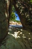 在anse拉齐奥, praslin,塞舌尔群岛1的惊人的天堂海滩 免版税库存照片