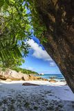在anse拉齐奥, praslin,塞舌尔群岛4的惊人的天堂海滩 免版税库存图片