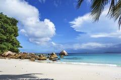 在anse拉齐奥, praslin,塞舌尔群岛95的惊人的天堂海滩 库存照片