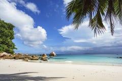 在anse拉齐奥, praslin,塞舌尔群岛99的惊人的天堂海滩 库存图片