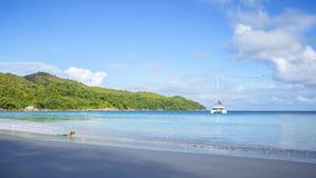 在anse拉齐奥, praslin,塞舌尔群岛2的惊人的天堂海滩 库存图片