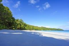 在anse拉齐奥, praslin,塞舌尔群岛7的惊人的天堂海滩 库存照片