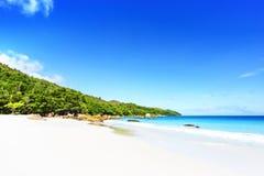 在anse拉齐奥, praslin,塞舌尔群岛60的惊人的天堂海滩 库存图片