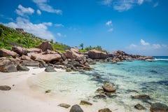 在Anse椰树的岩石 免版税库存照片