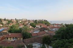 在Antalyas Oldtown Kaleici的日落在土耳其 免版税图库摄影