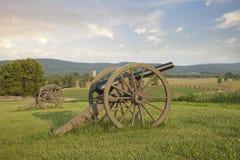 在Antietam (Sharpsburg)战场的大炮在马里兰 库存照片