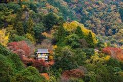 在Arashiyama小山的寺庙秋天 免版税库存图片