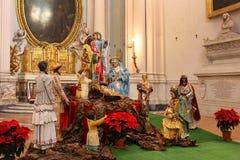 在archbasilica二圣乔瓦尼的诞生场面在Laterano,罗马,意大利 库存图片