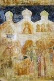 在Arkhangels教会墙壁上的老绘画。 免版税库存照片