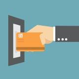 在ATM的信用卡 向量例证