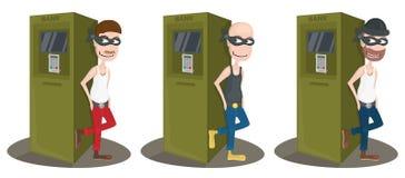 在ATM附近的窃贼在白色背景 库存照片
