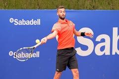 在ATP巴塞罗那开放银行萨瓦德尔的伯努瓦Paire (从法国的网球员)戏剧 图库摄影