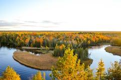 在Ausable河的水的日落 免版税库存照片