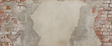 在autumnOld的葡萄园里,部分地最近涂灰泥的砖墙 库存照片