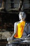 在Ayudhaya,泰国的具体佛教雕塑 免版税库存图片
