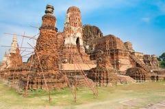 在ayudhya的古庙 免版税库存照片