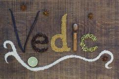 在ayurveda香料和种子拼写的早期梵文 库存照片