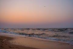 在Azov海运的日落 库存照片