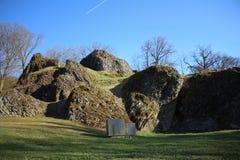 在BÃ ¼ dingen,德国的更加狂放的斯坦岩层 库存图片