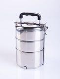 在backgrou的食盒或不锈钢食盒 库存照片