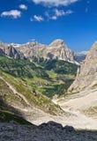 在Badia谷的Dolomiti - Colfosco 库存照片