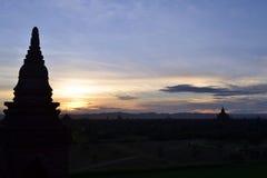 在Bagan寺庙的日落 免版税库存图片