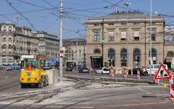 在Bahnhofquai码头的道路工程 库存图片