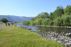 在Baikal湖附近的西伯利亚河在夏天 免版税库存照片