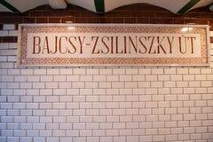 在Bajcsy Zsilinszky Utca街道的地铁中止 免版税图库摄影