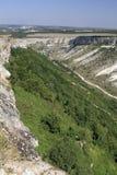 在Bakhchisarai附近的克里米亚半岛峡谷 图库摄影