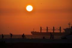 在Balneario海滩的日落 免版税图库摄影