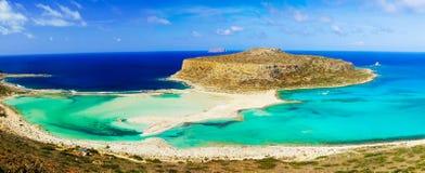 在Balos盐水湖和格拉姆武萨群岛海岛的惊人的看法克利特的 免版税库存照片