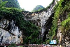 在bama villiage,广西,瓷的石灰岩地区常见的地形洞 库存图片