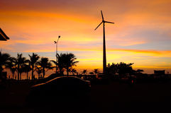 在Bamampur海滩泰国的日落 库存图片