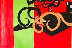 在bandoned修造的墙壁上的街道画 免版税图库摄影