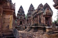 在Banteay Srei寺庙,柬埔寨的看法 图库摄影