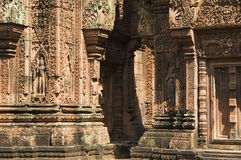 Banteay Srei寺庙,柬埔寨 库存图片
