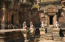 Banteay Srei寺庙,吴哥窟,柬埔寨 免版税库存图片