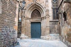 在Barcelona.Spain的哥特式处所。 库存照片