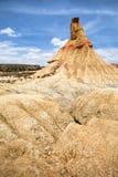 在Bardenas Reales的石形成Castilldetierra 库存照片