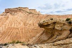 在Bardenas Reales, Navarra,西班牙的石形成 免版税库存图片