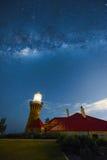 在Barrenjoey灯塔的银河在棕榈滩悉尼澳大利亚 免版税库存照片