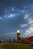 在Barrenjoey灯塔的银河在棕榈滩悉尼澳大利亚 免版税图库摄影