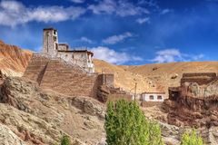 在Basgo修道院、Leh、拉达克、查谟和Kahsmir,印度的废墟 免版税库存照片