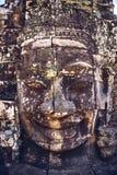在Bayon寺庙塔的石头在吴哥城,暹粒, 免版税库存图片